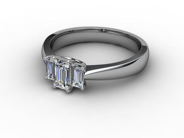 Trilogy 18ct. White Gold Emerald-Cut Diamond - Main Picture
