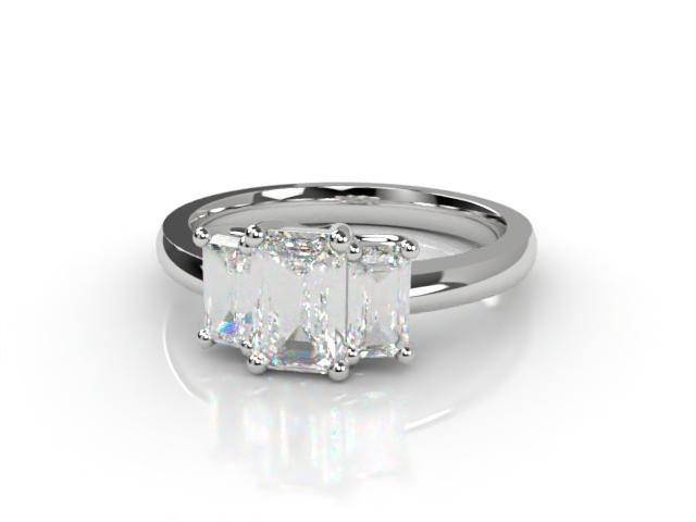 Trilogy 18ct. White Gold Emerald-Cut Diamond