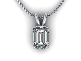 Certified Emerald-Cut Diamond Pendant - 9