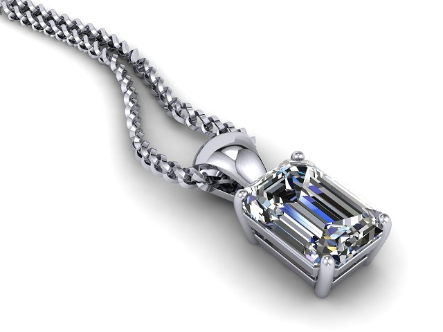 Certified Emerald-Cut Diamond Pendant