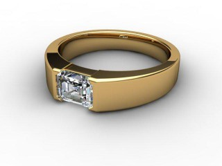 Certificated Emerald-Cut Diamond Solitaire Engagement Ring in 18ct. Yellow Gold-04-1800-2920