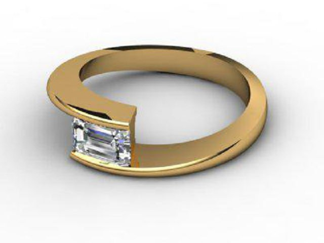 Certificated Emerald-Cut Diamond Solitaire Engagement Ring in 18ct. Gold - Main Picture