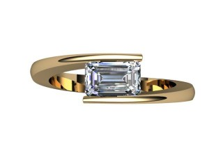 Certificated Emerald-Cut Diamond Solitaire Engagement Ring in 18ct. Gold - 9