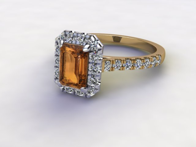 Natural Citrine and Diamond Halo Ring. Hallmarked 18ct. Yellow Gold