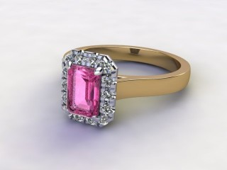 Natural Pink Sapphire and Diamond Halo Ring. Hallmarked 18ct. Yellow Gold-04-2824-8923