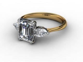 Trilogy 18ct. Yellow Gold Emerald-Cut & Pearshape Diamond-04-2833-0007