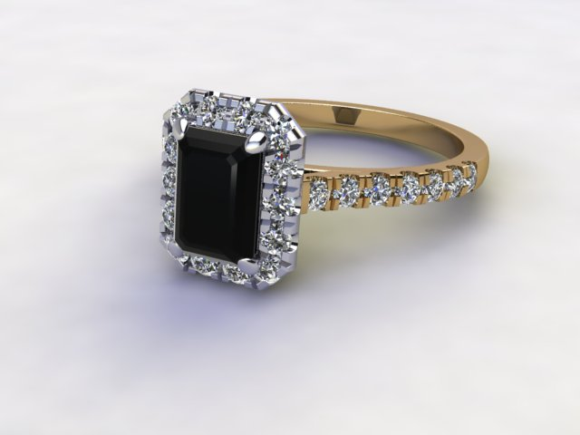 Natural Smoky Quartz and Diamond Halo Ring. Hallmarked 18ct. Yellow Gold
