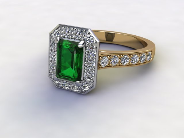 Natural Green Tourmaline and Diamond Halo Ring. Hallmarked 18ct. Yellow Gold