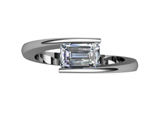 Certificated Emerald-Cut Diamond Solitaire Engagement Ring in Palladium - 9
