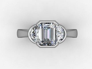 Certificated Emerald-Cut Diamond in Palladium - 12