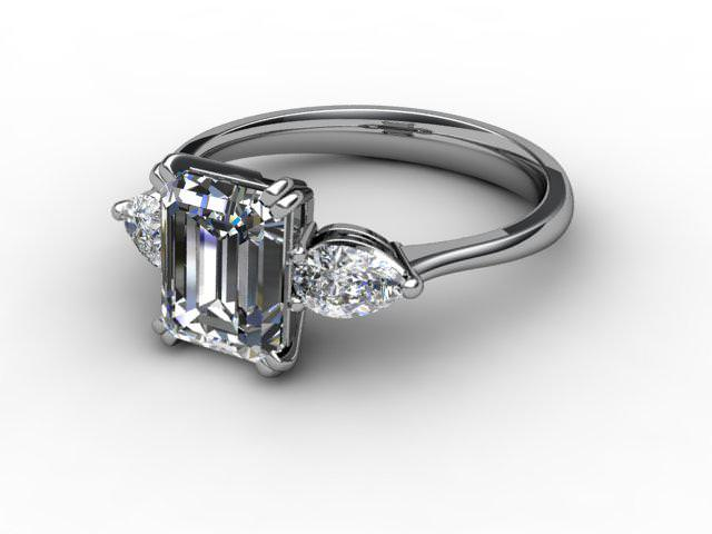 Trilogy Palladium Emerald-Cut & Pearshape Diamond