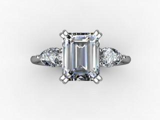 Trilogy Palladium Emerald-Cut & Pearshape Diamond - 12