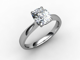 Certificated Cushion-Cut Diamond Solitaire Engagement Ring in Platinum-05-0100-0006