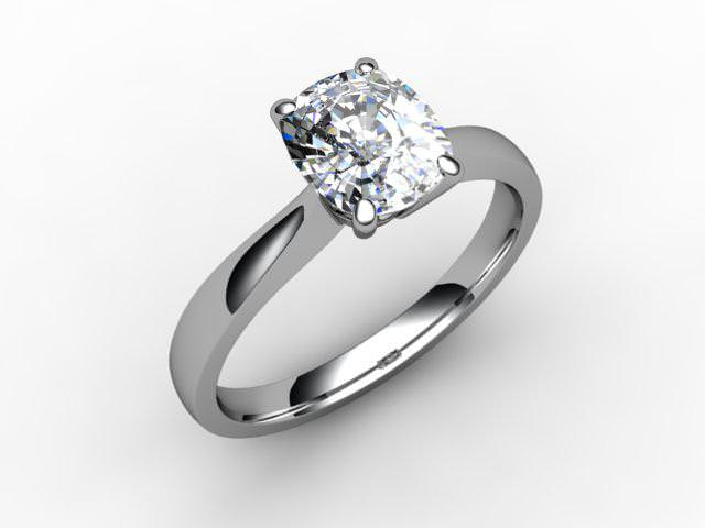 Certificated Cushion-Cut Diamond Solitaire Engagement Ring in Platinum - Main Picture