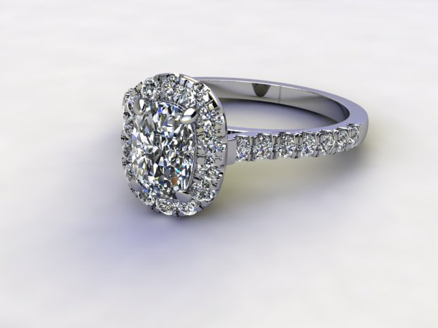 Certificated Cushion-Cut Diamond in Platinum - Main Picture