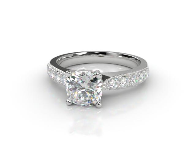 Certificated Cushion-Cut Diamond in Platinum
