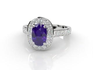 Natural Amethyst and Diamond Halo Ring. Hallmarked Platinum (950)-05-0112-8929