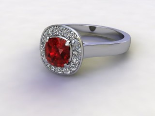 Natural Mozambique Garnet and Diamond Halo Ring. Hallmarked Platinum (950)-05-0117-8913