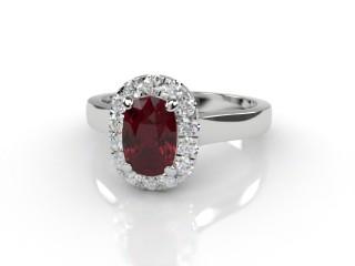Natural Mozambique Garnet and Diamond Halo Ring. Hallmarked Platinum (950)-05-0117-8942