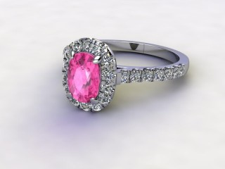 Natural Pink Sapphire and Diamond Halo Ring. Hallmarked Platinum (950)-05-0124-8927