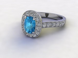 Natural Sky Blue Topaz and Diamond Halo Ring. Hallmarked Platinum (950)-05-0138-8929