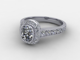 Certificated Cushion-Cut Diamond in Platinum