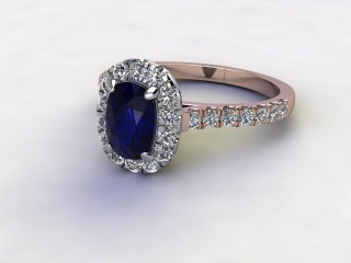 Natural Kanchanaburi Sapphire and Diamond Halo Ring. Hallmarked 18ct. Rose Gold-05-0447-8927