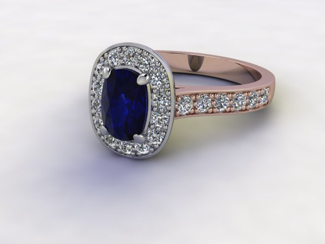 Natural Kanchanaburi Sapphire and Diamond Halo Ring. Hallmarked 18ct. Rose Gold