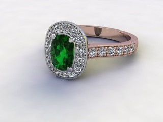 Natural Green Tourmaline and Diamond Halo Ring. Hallmarked 18ct. Rose Gold-05-0451-8929