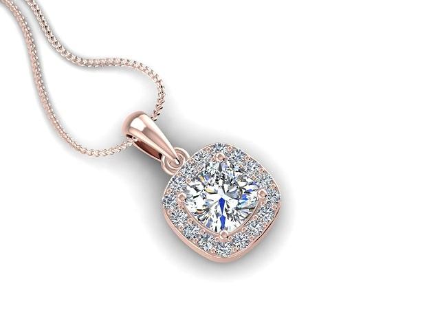 18ct. Rose Gold Diamond Halo Pendant & Chain