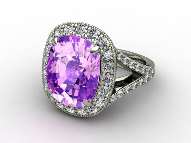 Natural Amethyst and Diamond Ring. 18ct White Gold