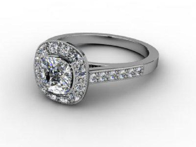 Certificated Cushion-Cut Diamond in 18ct. White Gold - Main Picture