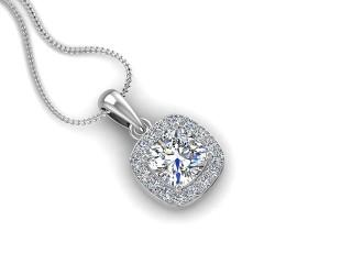 18ct. White Gold Diamond Halo Pendant & Chain-05-05638-100