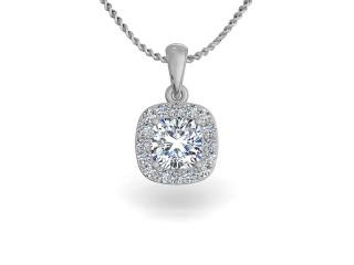 18ct. White Gold Diamond Halo Pendant & Chain