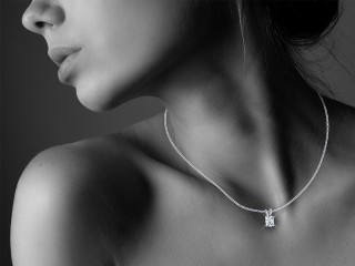 Certified Cushion-Cut Diamond Pendant - 12