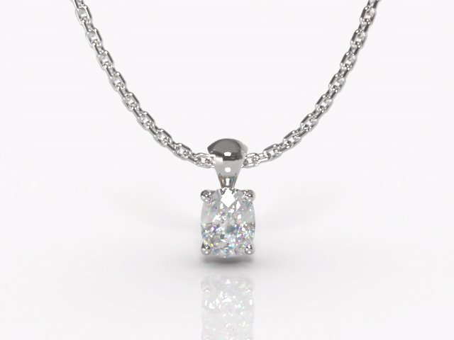 Certified Cushion-Cut Diamond Pendant - Main Picture