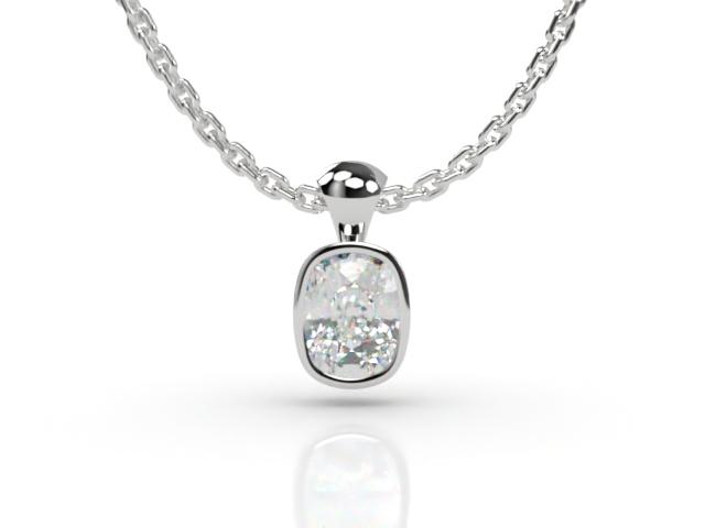 Certified Cushion-Cut Diamond Pendant