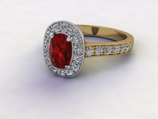 Natural Mozambique Garnet and Diamond Halo Ring. Hallmarked 18ct. Yellow Gold-05-2817-8929