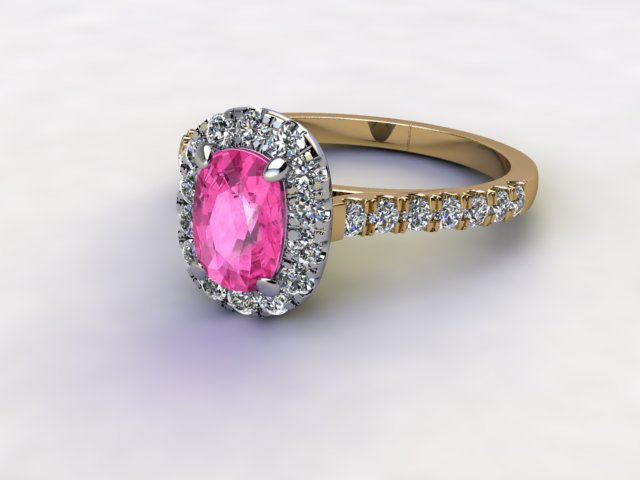 Natural Pink Sapphire and Diamond Halo Ring. Hallmarked 18ct. Yellow Gold