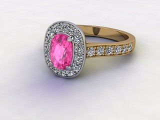 Natural Pink Sapphire and Diamond Halo Ring. Hallmarked 18ct. Yellow Gold-05-2824-8929