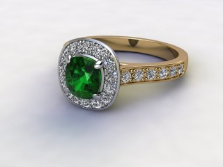 Natural Green Tourmaline and Diamond Halo Ring. Hallmarked 18ct. Yellow Gold-05-2851-8954