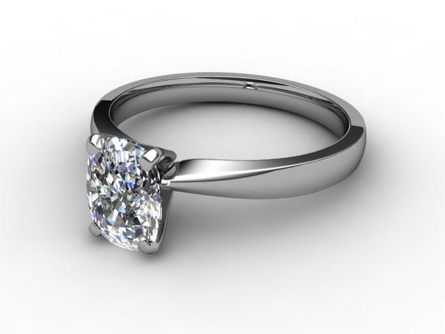 Certificated Cushion-Cut Diamond Solitaire Engagement Ring in Palladium - Main Picture