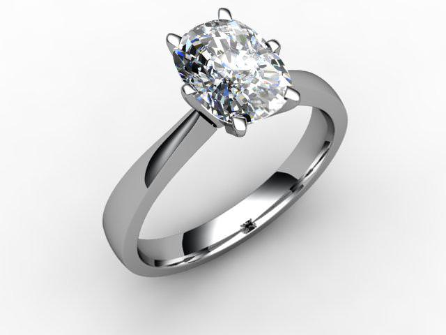 Certificated Cushion-Cut Diamond Solitaire Engagement Ring in Palladium