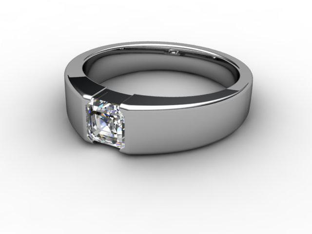 Certificated Asscher-Cut Diamond Solitaire Engagement Ring in Platinum - Main Picture
