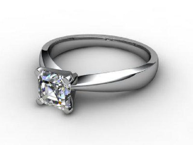 Certificated Asscher-Cut Diamond Solitaire Engagement Ring in Platinum