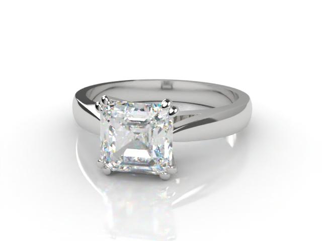 Certificated Asscher-Cut Diamond Solitaire Engagement Ring in Platinum