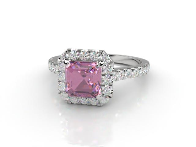 Natural Pink Sapphire and Diamond Halo Ring. Hallmarked Platinum (950)