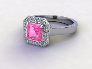 Natural Pink Sapphire and Diamond Halo Ring. Hallmarked Platinum (950)-06-0124-8932