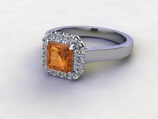 Natural Golden Citrine and Diamond Halo Ring. Hallmarked Platinum (950)-06-0133-8930