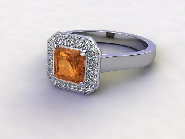 Natural Golden Citrine and Diamond Halo Ring. Hallmarked Platinum (950)
